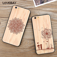 Lovebay Luxury Wood Grain Phone Case For iPhone 7 7 Plus 6 6s Plus 5 5s SE Beautiful Dandelion Flowers Hard PC Phone Case Covers