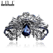 danbihuabi New Fashion Elegant Hair Pins Claws with Blue Water Drop Glass Vintage Women Hair Jewelry for Wedding Party for Women