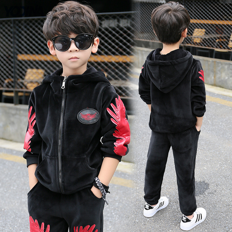 YODINA Gold Velvet Boys Clothing Set Autumn Winter Children Thicken Sport Suit Boys Clothes Sets School Kids Fashion Tracksuit<br>