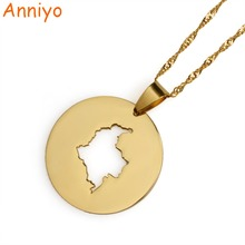 Anniyo Gold Color Round Map of Columbia Pendant & Necklaces for Women Colombian Jewelry Gifts #015921