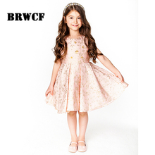 BRWCF 2017 Princess Girl Dress Autumn & Winter for embroidery Kids Clothes Flower Sequined Children Dress for Wedding Party(China)