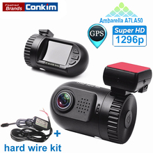 Conkim Mini 0805 Full HD Video Recorder Car Camera DVR Ambarella A7LA50 1080P 1296P HDR SOS+GPS G-sensor ADAS w/ Hard Wire Kit