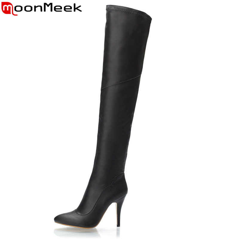 MoonMeek 2017 hot sale new arrive women boots fashion zipper over the knee boots black red super heels boots pointed roe sexy<br>