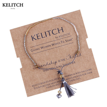 KELITCH Fashion Jewelry Simple Design Gray Tassel 1mm Beaded Cute Handmade Friendship Bracelet For Friends Gifts AZX021(China)