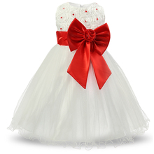 White Children's Princess Girl Dresses For Wedding Party Pageant Communion Dress Big Bow Lace Christening Gown For Girl 12 Years