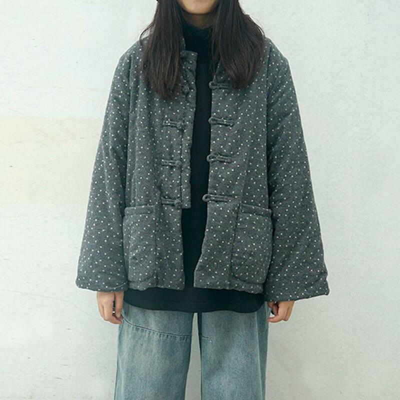 SCUWLINEN 2017 Winter Jacket Women Thickening cotton-padded vintage plate buttons wadded jacket cotton-padded jacket print  M922Îäåæäà è àêñåññóàðû<br><br>