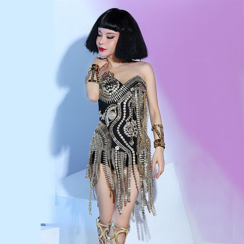 Nightclub female singer dj white punk ds rivet costume three-piece stage costume1