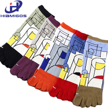 HIAMIGOS five fingers men socks with separate toes cotton deportes short tube spandex elasticity soft prevent beriberi boy socks