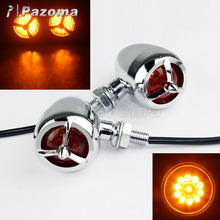 PAZOMA High Quality 2x Motorcycle Chrome Bullet Amber LED Turn Signal for Harley Sportster Dyna Bobber Chopper Free Shipping