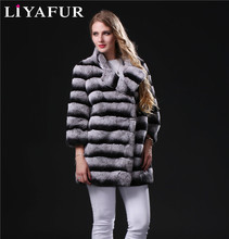 LIYAFUR 2017 New Real Genuine Natural Chinchilla Rex Rabbit Fur Winter Stripe Overcoat Coat for Women Furry Female Coats Jacket