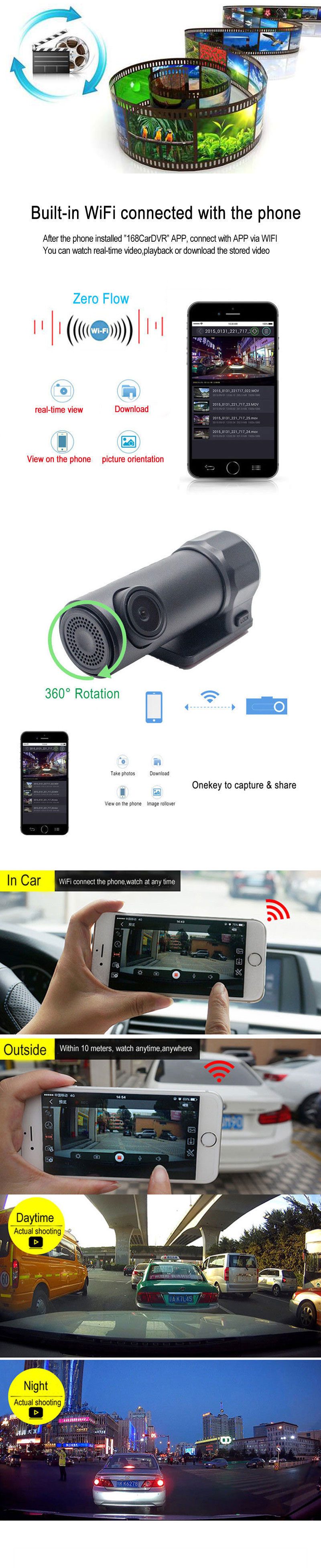 Full HD 1080P WiFi Car DVR Vehicle Camera Dash Cam Night Vision Wide Angle Video Recorder G-Sensor for IOS Android Smartphones 2