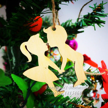 60pcs Wish Card Boy & Girl Wood Tags Tree Decoration Ornaments Rustic Tags Wedding Valentine Party Nature Color Gift Home Decor