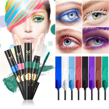HUAMIANLI Brand 3D Curling Waterproof Color Mascara Cosmetics Eye Lashes Extension Red Purple White Cosplay Mascaras Makeup(China)