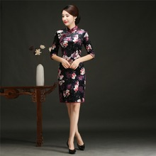 Shanghai Story Red Chinese Cheongsam Dress Half Sleeve Knee Length Floral Qipao Vintage Chinese Oriental Dress for Women(China)