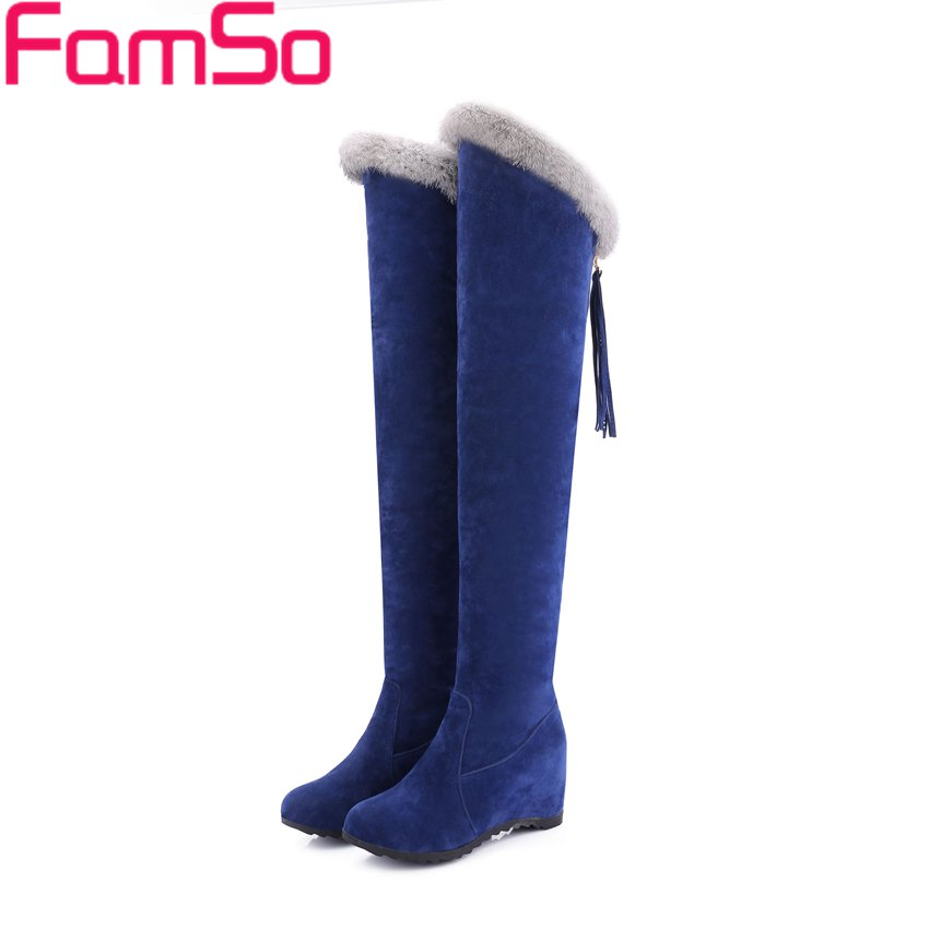 Free shipping 2017 Retro Style thigh High Boots Black Fur Boots Designer heels Over The knee Boots Winter Snow Boots ZWB4170<br>