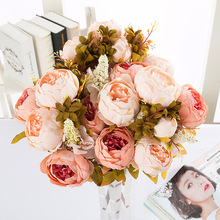 Retro Vintage Peony Core Flower Artificial Bouquet European Fall Vivid Rose Leaf Wedding Home Party Weeding Decoration Flowers