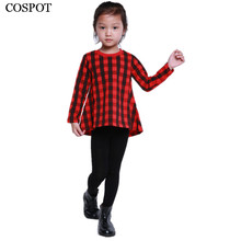 Baby Girls Christmas Red Plaid Dress Girl Winter Autumn Casual Dresses Girl's Cotton Fashion Long Sleeve Xmas Dress 3-10 Yrs 38C