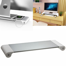 New UK/EU Plug Notebook Stand Aluminium Laptop Stand Holder Computer Monitor TV Stand USB Charger Entertainment Center Storage(China)