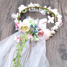 The new bride headdress veil Korean style flowers wreath head wedding photo studio photo hair ornaments dress accessoriesAQ2535(China)