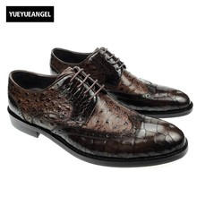 England Style Fashion New Mens Hand Made Real Leather Crocodile Pattern Formal Dress Shoes For Man Carved Pointed Toe Lace Up(China)