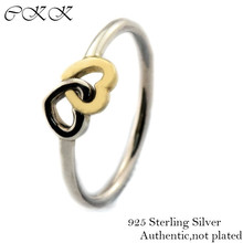 14K Real Gold Ring Heart to Heart 100% 925 Sterling Silver Jewelry Rings for Women Fine Jewelry Free shipping PFR095k