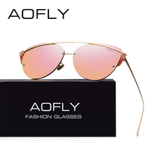 AOFLY Original Brand Sunglasses 2017 Super Fashion Cat Eye Women Glasses Double Bridge Frame Luxury Designer Mirror Lens AF79106(China)