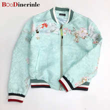 BOoDinerinle Women water blue temperament floral embroidery 2017 Spring New coat bomber jacket design slim jackets Fashion JK002(China)
