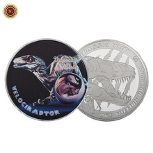 WR Velociraptor Dinosaur Silver Challenge Coin Jurassic Collectibles Commemorative Metal Coins Birthday Decoration Items
