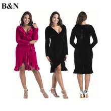 Buy B&N V-Neck Ruffles Velvet Dress Tunic Wrap Sexy Dress Belted Spring Autumn Velvet Dress Long Sleeve Plus Size for $20.89 in AliExpress store