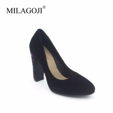MILAGOJI 100% Genuien Leather Pumps Square Heel Kid Suede Women Pumps Sexy Heel Women Shoes Slip On Party Pumps Leather Shoes(China)
