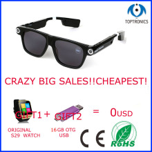 sexy women Smart Glasses Driving Music Play Video Record Camera smartglasess sunglasses eyeglass with Free S29 smart watch(China)