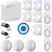 WIFI GSM GPRS Alarm System IOS Android APP Control Intruder Security Home GSM Alarm with Wireless Blue Siren Smoke Detectors