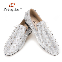 Piergitar Handcrafted Luxury Gold or Silver Spikes and Diamonds Men's Glitter Leather Loafers Suitable for Banquet and Wedding(China)