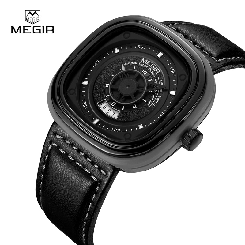 MEGIR Top Brand Luxury Leather Strap Quartz Watches  Men Clock Square Dial Mens Watch Wristwatches Calendar Date 2027<br>