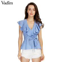 Women sweet ruffles striped blue shirts sexy v-neck sashes short sleeve blouses ladies European style fashion tops blusas DT978(China)