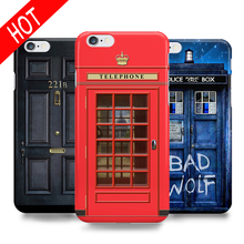 Vintage Black door 221B Telephone Box Design Hard Back Phone Case Cover For fundas Apple iPhone 6 6S 5s 7 8 7 Plus capa para(China)