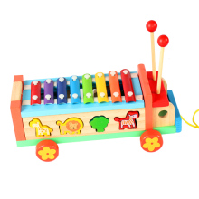 Baby children's music toys eight sound wooden tugs hand piano 1-3-5 years old
