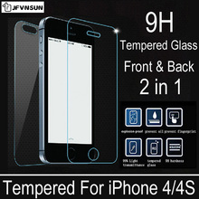 2 pcs/lot Front + Back Premium Tempered Glass for iPhone 4s 4 Explosion-proof Anti-scratch Screen Protector Film for iPhone4 s