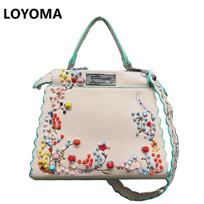 2017 Summer Women Peekaboo Bag Embroidery Famous Brand Designer Tote Handbag Shoulder Bags Printing Rivet Luxury Bags Purse<br>