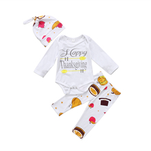 Newborn Baby Boys Girls Lovely Cute HAPPY THANKSGIVING Top Bodysuit Jumpsuit Playsuit Pant Hat Outfit Clothes(China)