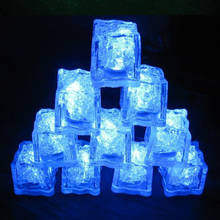 24pcs/lot Wholesale Lamps Blue Water Sensor LED Glow Ice Cubes Novelty Party Sparkling Light for Wedding Celebration