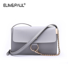 ELIM&PAUL Fashion Crossbody Bags Satchels High Quality Flap Pocket Solid Cover Hasp 2017 Small Chains Bag women messenger bags