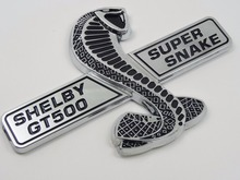 Sosung 3D Auto Car Silver Shelby Super Snake Cobra Emblem Badge Sticker For Ford Mustang Shelby GT500 GT-500