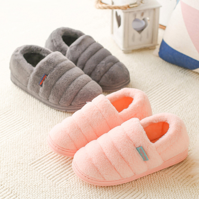 Lovers Indoor Slippers Winter Autumn Warm Shoes Woman Faux Fur Slip On Flats Soft Bottom Female Home Shoes Women Plush Slides