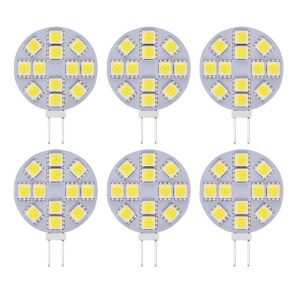 G4 LED bulbs 12-5050-SMD LED Chips, 3W AC/DC 12V, Equivalent to 30W T3 Halogen Track, White 6000K, Non-Dimmable, 10-Pack<br><br>Aliexpress