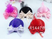 Free Shipping New Discount Fashion Feather  Hair Clip/Mini Top Hat With Clips/Hair Accessories/Headpiece/ Bows/5Colors