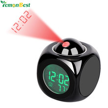 LCD Display Digital Projection Voice Alarm Clock Support Backlight Snooze Function Cube LED Desk Clock Display Time Thermometer(China)