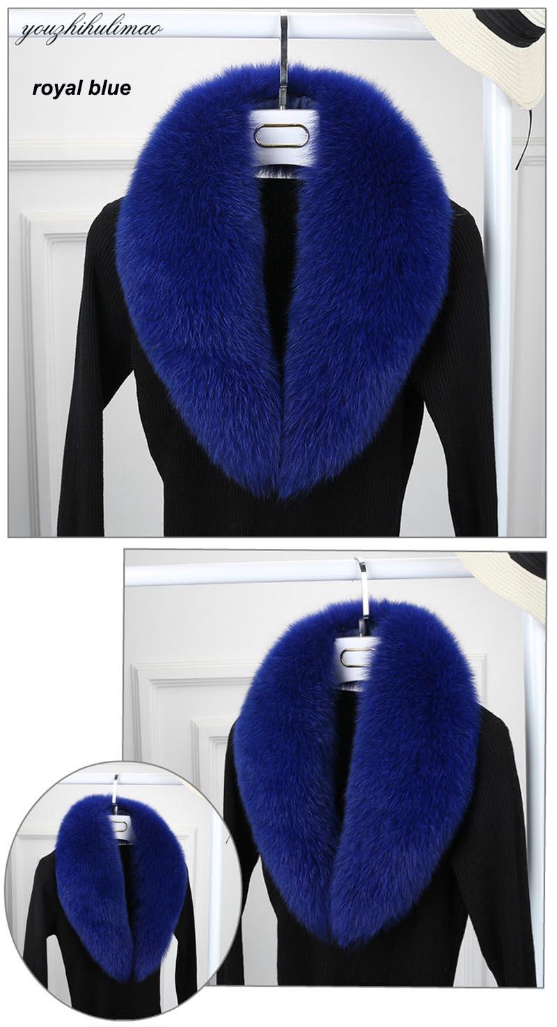 fox fur collar royal blue