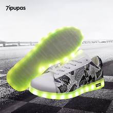 7ipupas Luminous led shoes Usb charge lights up sneakers boy girl glowing sneakers Neon 11 colorfull Fluorescence Kids Led shoes(China)