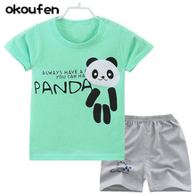 okoufen 2017 baby boy and girl body suit quality 100% cotton children t shirt summer cartoon kids clothing sets bobo choses(China)